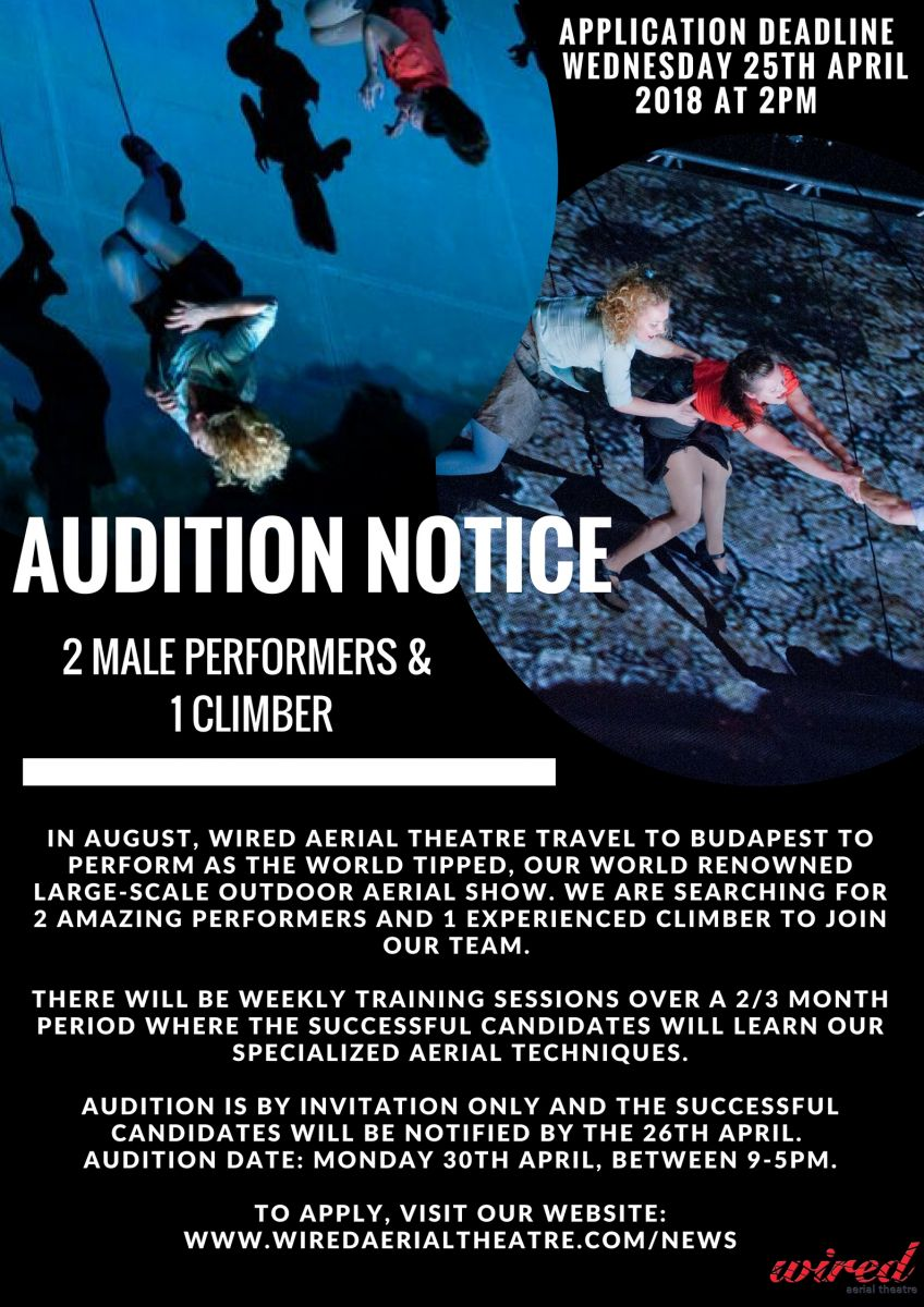 (Position Now Closed!) -  Wired are Hiring! 3 New Roles - 2 Male Performers and 1 Climber!